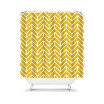 Shower Curtain Herringbone CUSTOM You Choose Colors Gold Yellow White Chevron Pattern Bathroom Bath Polyester Made in the USA