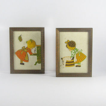 Vintage Kitsch Yarn Art, Sunset Designs Inc, Retro Wall Art, Cookin' 704, Washin' 708, Harvest Gold, Green, Burnt Orange, Jiffy Stichery