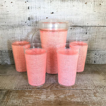 Pitcher and Glasses Set Pink Tumbler Glasses with Matching Pitcher Raffiaware Wicker Glasses Woven Melmac Melamine Tumblers and Pitcher