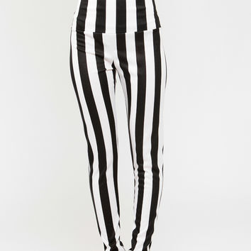 Vertical Striped High Waisted Legging