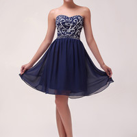 Solid Filigree Sequins Beads Chiffon Mini Homecoming Dress
