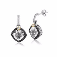 Crystal Quartz and Diamond Accented Cushion Drop Earrings in 18K Yellow Gold and Sterling Silver