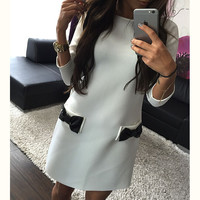 FASHION BOWKNOT T-SHIRT DRESS