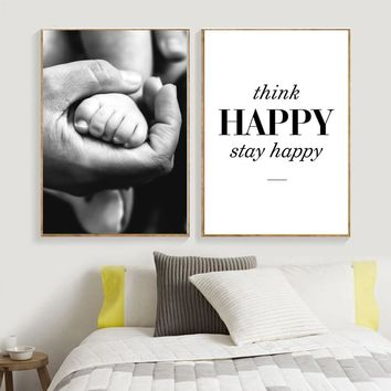 Modern Black and White Canvas Painting Father's Love Hands Kids Bedroom Posters And Prints Wall Art Pictures For Living Room