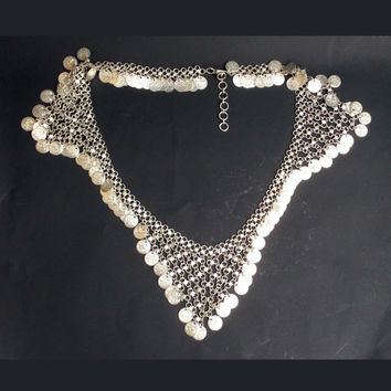 Vintage Gypsy belly dancing chain waist belt star jagged coin chainmail pattern silver tone metal