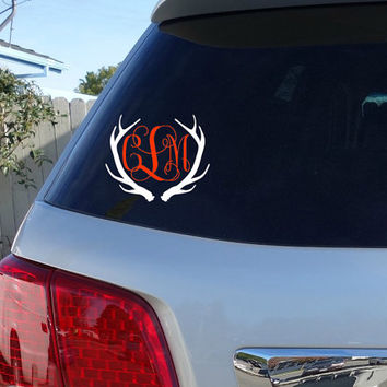 Deer Antler Monogram Car Window Decal | Initials Car Window Decal