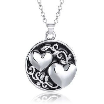 New Fashion 2015 Korean engraved Pendant Necklaces Engrave sister Matching Heart circle Necklace Valentine's Day Gift