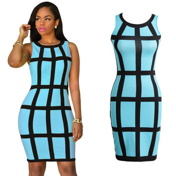 Women Dress Bodycon Sundress Green Yellow Robe Sexy Club Plaid Bandage Dress Casual Vestidos Short Party Dresses XL SM6