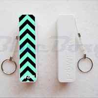 Black and Mint Chevron Stripes Portable Power Bank, Power Bank Charger, Power Bank