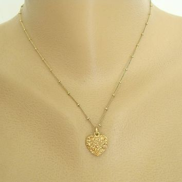 Fossil Signed Amber Pavé Rhinestone Heart Pendant Necklace Sweetheart Jewelry