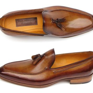 Paul Parkman (FREE Shipping) Men's Tassel Loafers Camel & Brown Hand-Painted (ID#083-CML)