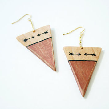 Hand-Painted Wooden Triangle Dangle Earrings in Metallic Copper and Maple