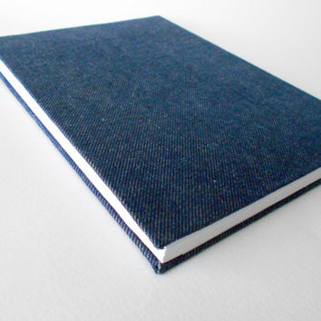 A5 Navy Blue Fabric journal,100 sheets handmade hardcover moleskine journal with jeans fabric, wrapped in handmade envelope