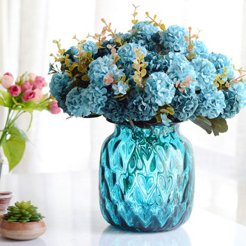 1Bunch European Artificial Flower Fake 10 Heads Hydrangea Bouquet Wedding Arrangement Christmas Home Decoration 4 Colors
