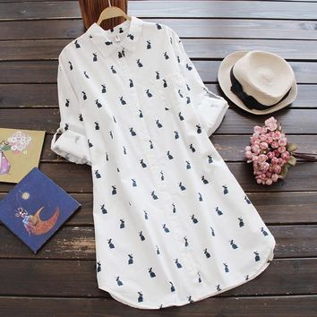 Cute Rabbit Print Long Sleeve Turn-down Collar Casual Loose Long Shirt Women Brief White Blouse