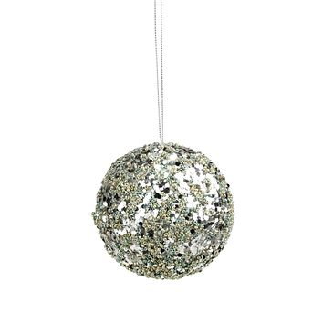 "4"" Seasons of Elegance Teal and Gold Sequins and Beads Ball Christmas Ornament"