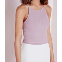Missguided - Lynne Ribbed High Neck Crop Top Mauve