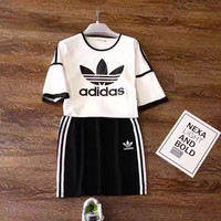 Adidas Women Casual Outfit Top T-shirt Short Skirt Set