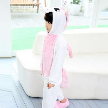 2017 New Halloween Cosplay Costume Children Animal Onesuit Unicorn Pajamas For Kids For Girls Winter Pink Pijama Infantil