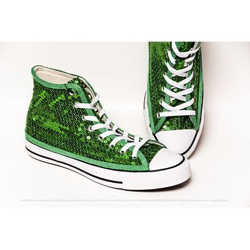 Kelly Green Starlight Sequin High Top Sneakers