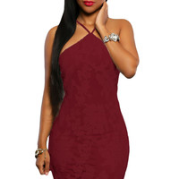 Burgandy Lace Floral Luxe Party Dress
