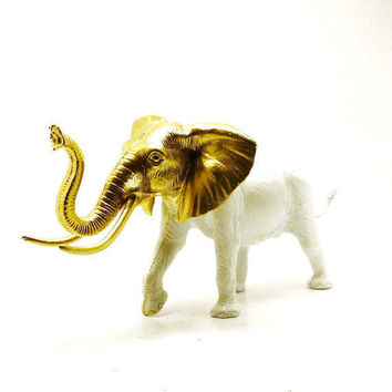 white elephant figurine, gold, upcycled, chic home decor  //  elephants, bohemian, india, altered toy, mod housewares, african, tribal