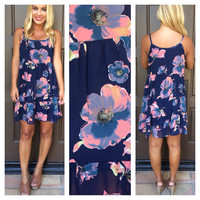 Electric Floral Baby Doll Tank Dress