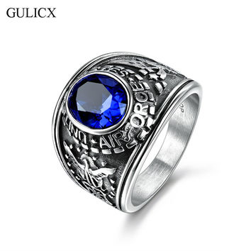 GULICX New  White Color Stainless Steel US Air Force Ring for Men Size 14 Black/Red/Blue/Green CZ Crystal Jewelry BR147