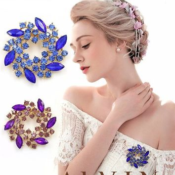 Colored Crystal Rhinestones Flower Brooch