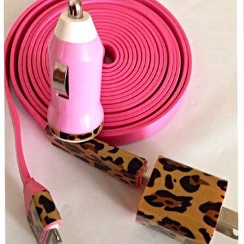 Cheetah print XXL flat noodle pink I Phone 4/4S and I Phone 5 charger.