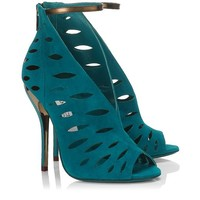 Blue Bottle Suede and Bronze Mirror Leather Sandals | Tamber | Spring Summer 2014 | JIMMY CHOO Sandals