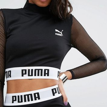 Puma Exclusive To ASOS Cropped Mesh Top Co Ord at asos.com