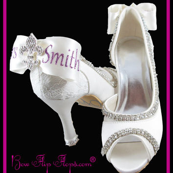 Mrs New Last name Personalized Bridal Heels Wedding Ivory Bridal Fleur De Lis Shoes 3.5 inch Peep Toe Satin Bow Rhinestone Bling Pumps Bride