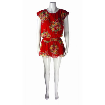 Red Floral Tunic Dress (Betsey Johnson)