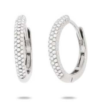 0.21ct 14k White Gold Diamond Pave Hoop Earring