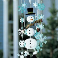 Collections Etc - Winter Snowman Holiday Garden Wind Chimes