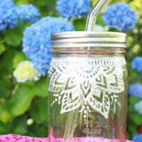Hand Painted Glass Drinking Jars