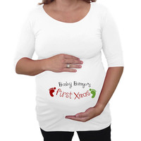 Baby bump first Christmas maternity shirt