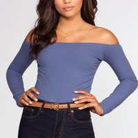 Just Right Off The Shoulder Top - Denim Blue