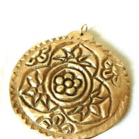 Hand Forged Bronze Pendant Impressed Indian Woodblock Mandala Design