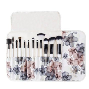 Unimeix Professional 12 Pcs Makeup Cosmetics Brushes Set Kits with Flower (Black Flower) Pattern Case