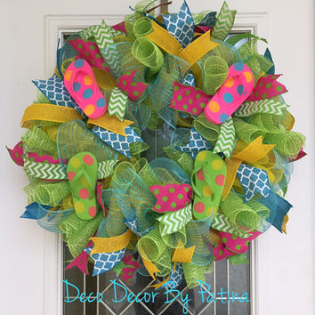 Summer Wreath - Summer Flip Flop Wreath - Flip Flop Wreath - Summer Decor - Summer Decoration - Flip Flop Door Hanger - Beach Wreath