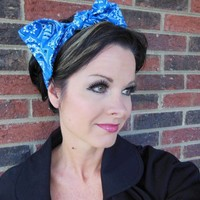 Betties Hair Tie, Pin Up Girl, Rockabilly, Bright Blue Bandana, headband, 40s, 50s