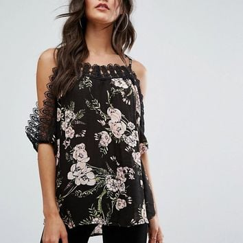 River Island Crochet Trim Cold Shoulder Top at asos.com