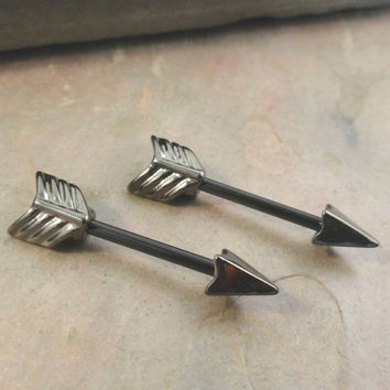 Black Arrow Tribal Nipple Bar Jewelry Barbell