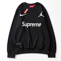 NIKE X Supreme X Jordan Popular Women Men Casual Print Long Sleeve Round Collar Sweater Top Sweatshirt Black