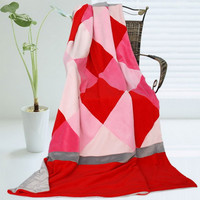 Onitiva - [Plaids - Rose Elf] Soft Coral Fleece Patch Throw Blanket