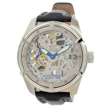 Android AD446BS Men's Naval Black Leather Strap Silver Skeleton Dial Mechanical Watch