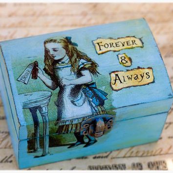 Alice in wonderland ring box:  personalized distressed, wedding ring box with drink me alice, ring bearer, proposal box