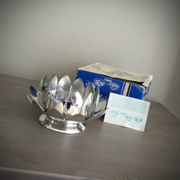 Leonard silverplate lotus flower frog centerpiece, multi use dip set, dish, sauce boat, leonard silver, silver flower dish n. 855
